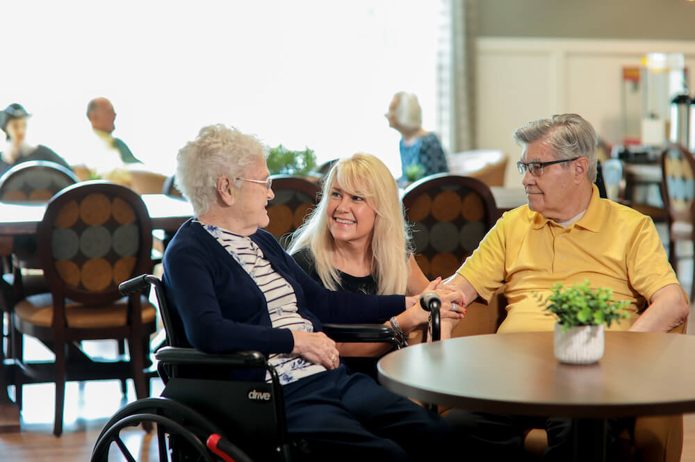 residents and caregiver