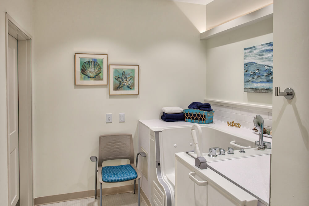 senior living apartment bathroom with safety measures in marysville ohio